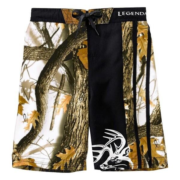 Legendary Whitetails Boys God's Country Camo Lakeside Swim Trunks - Black
