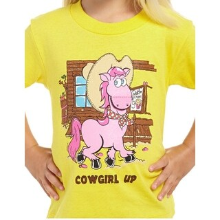 Cowgirl Up Western Shirt Girls Toddler Cartoon Horse S/S Yellow T229