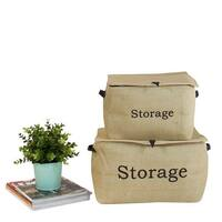 G Home Collection Closing Lid Linen Storage Box with Handles (Set of 2)