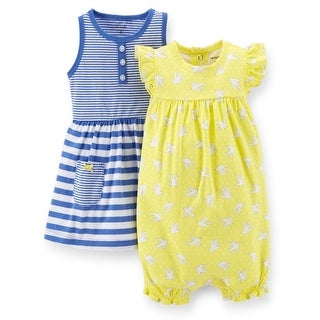 Carter's Baby Girls' 2 Piece Dress & Romper Set  - Yellow/ Blue Doves - 6 Months