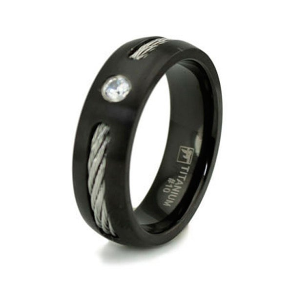 Black Titanium Ring w/ Cable Inlay & CZ