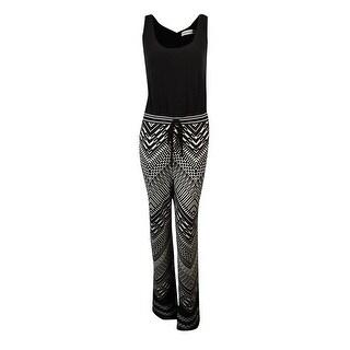 Calvin Klein Women's Aztec Print Jersey Jumpsuit - Black/Cream
