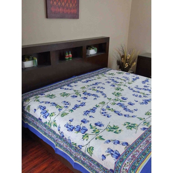 Handmade 100% Cotton French Floral Print Tapestry Tablecloth Coverlet 70x106 Inches Twin & Full 88x106 Inches Blue