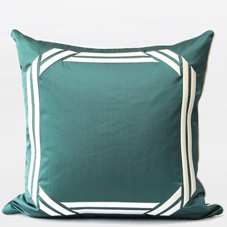 "G Home Collection Luxury Lack Blue Embroidered Modern Frame Textured Pillow 20""X20"""