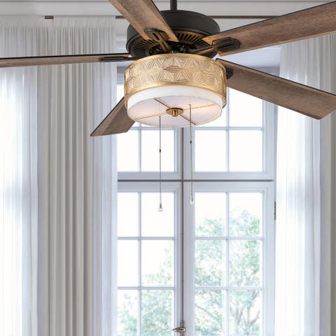 """Gianna River of Goods Gold Metal and Fabric 52in. 2-Light Ceiling Fan - 52"""" x 52"""" x 13.75""""/18.75"""""""
