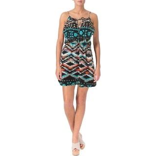 Trixxi Womens Juniors Sateen Printed Casual Dress