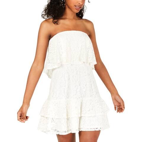 City Studio Womens Juniors Mini Dress Lace Ruffled - White