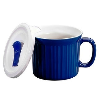Corningware 1105119 Colours Pop-Ins Mug with Vented Lid, Blueberry, 20 Oz
