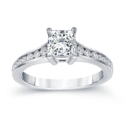Auriya Platinum 1 Carat TW Princess Cut Diamond Engagement Ring
