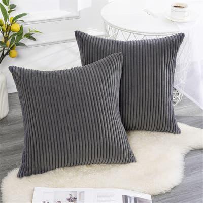 Topfinel Striped Throw Pillow Covers Soft Corduroy (Set of 2)