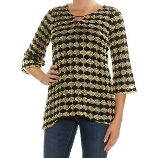 Womens Gold 3/4 Sleeve Keyhole Top Size M