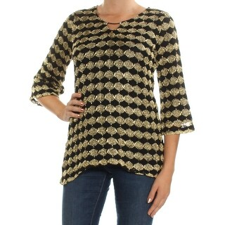 Womans Gold 3/4 Sleeve Keyhole Top Size M