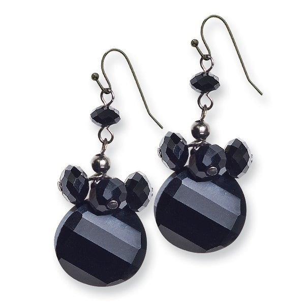 Black IP Black Epoxy Stones Dangle Earrings