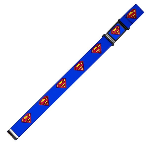Superman Full Color Blue Superman Shield Blue Webbing Magnetic Web Belt - S
