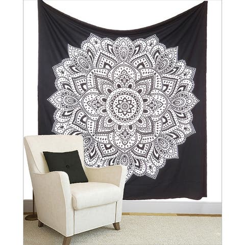 Oussum Ombre Mandala Tapestry Boho Tie Dye Printed Wall Hanging Decoration Black And White Home Decore Tapestries Beach Blanket