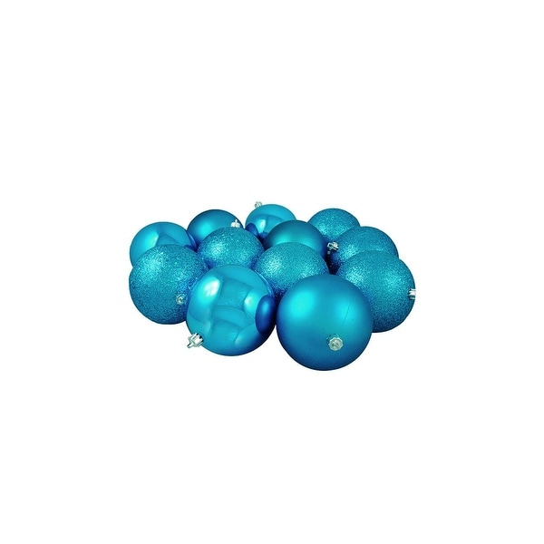 "36ct Turquoise Blue 4-Finish Shatterproof Christmas Ball Ornaments 4"" (100mm)"