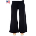 Plus Size Women's Black Palazzo Pants Lose Fit Wide Leg Folding Waist Sexy Comfy - Thumbnail 10