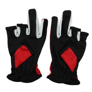 Unique Bargains Elastic Wrist Band 3 Half Finger Non-slip Palm Fishing Gloves Pair