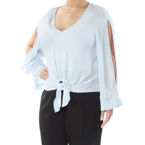 RACHEL ROY Womens Blue Cold Shoulder Tie Front Long Sleeve V Neck Top Size: XL