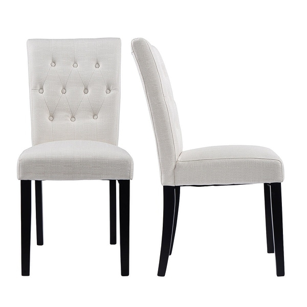 Shop Costway Set Of 2 Fabric Dining Chair Armless Chair