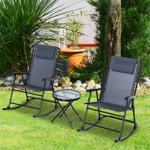 Outsunny 3 Piece Outdoor Rocking Bistro Set, Patio Folding Chair Table Set, Grey