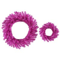 "Set of 2 Sparkling Fuchsia Pink Artificial Christmas Wreaths 10"" & 18"" - Unlit"
