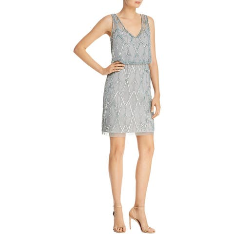 Adrianna Papell Womens Cocktail Dress Mesh Sleeveless