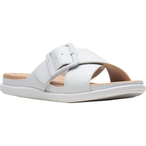 Cloudsteppers by Clarks Step June Shell Faux Leather Adjustable Slide Sandals