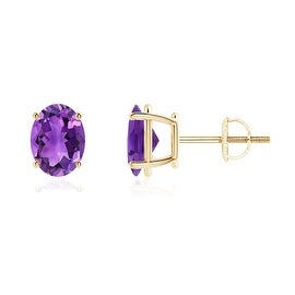 Prong Set Oval Solitaire Amethyst Stud Earrings