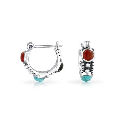 Bali Style Mulit Color Enhanced Turquoise Carnelian Onyx Bead Small Huggie Hoop Earrings For Women 925 Sterling Silver
