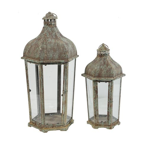A&B Home Armand Brown and White Carriage Candle Lanterns (Set of 2)