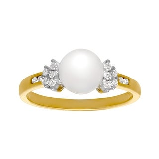 7.5 mm Pearl and 1/8 ct Diamond Ring in 14K Gold