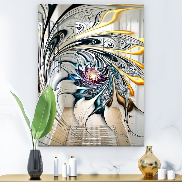 Designart 'White Stained Glass Floral Art' Accent Mirror - White. Opens flyout.