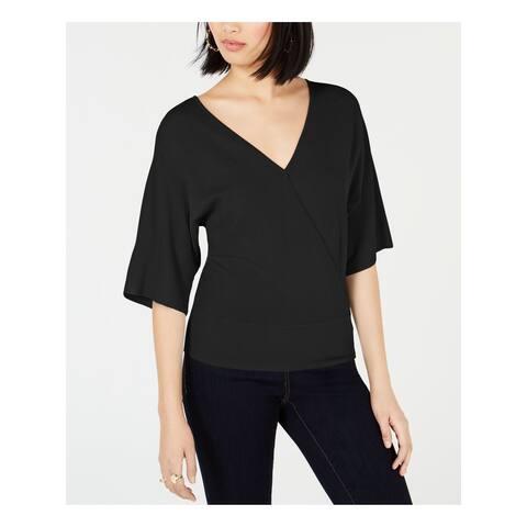 BAR III Womens Black 3/4 Sleeve V Neck Top Size XS