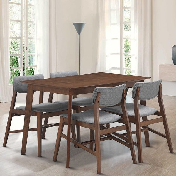 Gymax 5 PCS Mid Century Modern Dining Table Set Kitchen Table & 4 Upholstered Chairs. Opens flyout.