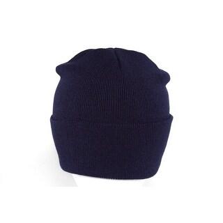 Long Knit Beanie Ski Cap Hat in Navy Blue