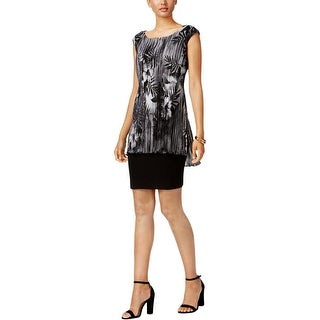 Connected Apparel Womens Evening Dress Printed Overlay - 14