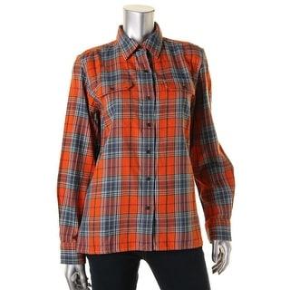 LRL Lauren Jeans Co. Womens Cotton Plaid Button-Down Top