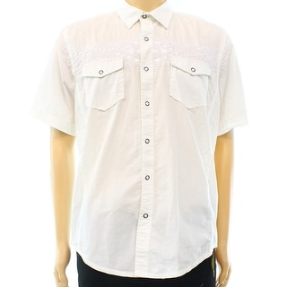American Rag NEW White Mens Size Large L Button Down Embroidered Shirt