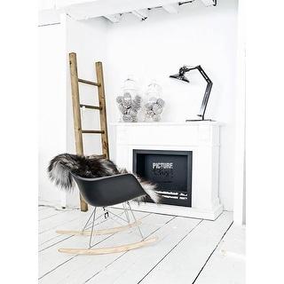 2xhome - Black Modern Plastic Rocker Rocking Chairs Lounge Nursery with Arm Wood Wire Leg