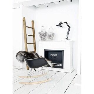 2xhome - Black Modern Plastic Rocker Rocking Chairs Lounge Chair Nursery with Arm Wood Wire Leg