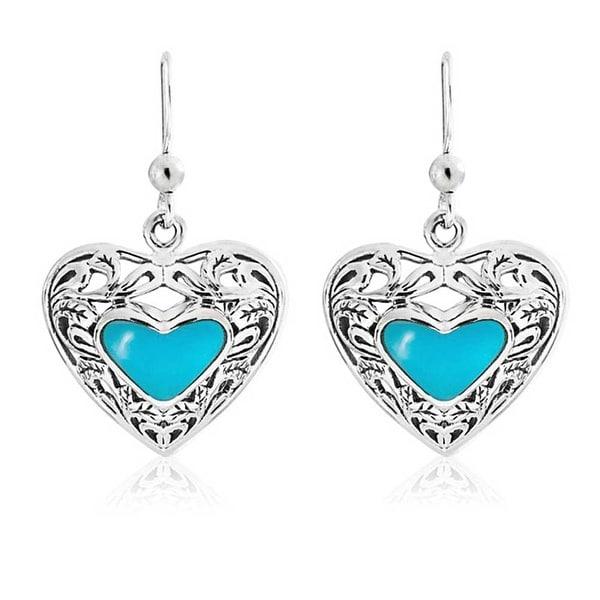 Enhanced Turquoise Heart Shape Drop Earrings Scroll Filigree Sterling Silver