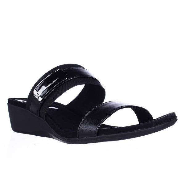 AK Anne Klein Sport Catchme Wedge Slide Sandals - Black/Black