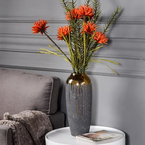 StyleCraft Marloe Tall Charcoal Ceramic Vase with Reflective Gold Drip