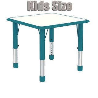 """2xhome - Teal - Modern Kids Table - Height Adjustable Square Childs Laminate Top Activity Table Bright Vibrant Colorful 24"""" x 24