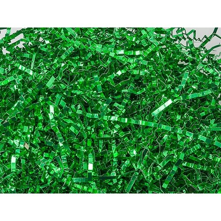 """Pack Of 1, Metallic Green Crinkle Cut Shred (Spring-Fill® / Zig Fill) 1/8"""" Wide 8 Oz. Made In Usa"""