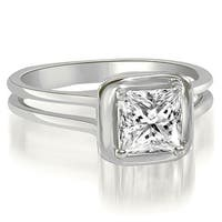 0.75 cttw. 14K White Gold Split Shank Halo Princess Cut Diamond Engagement Ring