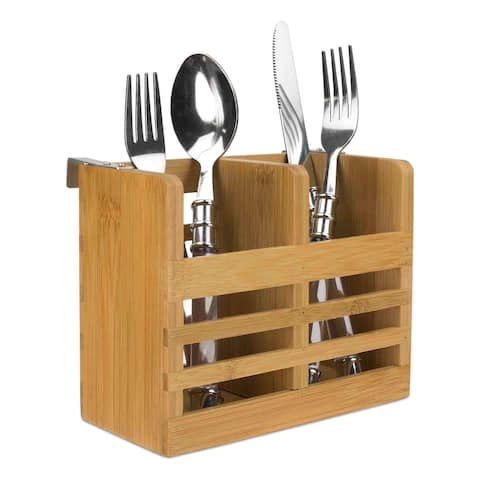 Home Basics Natural Bamboo Cutlery Holder with Hooks