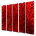 Statements2000 Huge Red 5 Panel Metal Wall Art Painting by Jon Allen - Red Hypnotic Sands Epic - Thumbnail 5