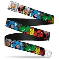 Marvel Comics Marvel Comics Logo Full Color 5 Marvel Characters Black Seatbelt Belt
